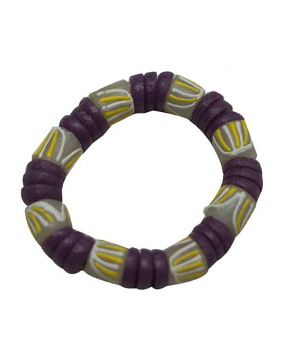 African Beaded Bracelet - Yellow & Violet