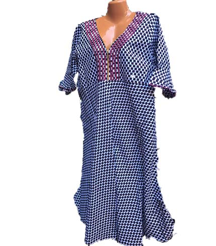 African Print Dress - Dark Blue