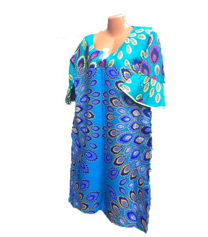 African Print Dress - Sea & Dark Blue Design
