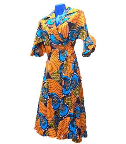 Orange & Blue African Print Dress
