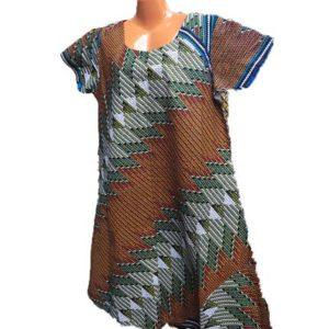 African Print Dress - Brown & Grey