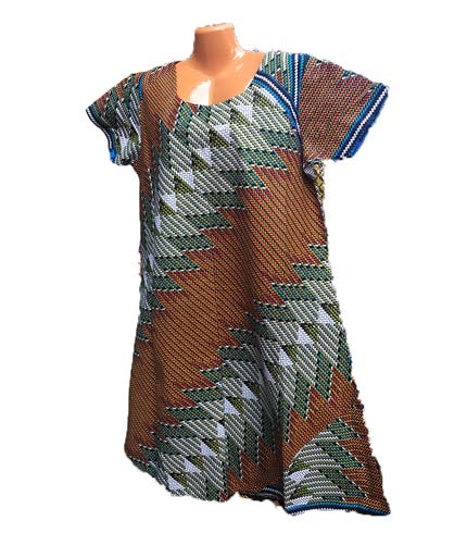 African Print Dress - Brown & Grey