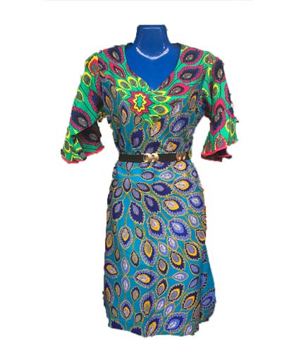 African Print Dress - Blue Design