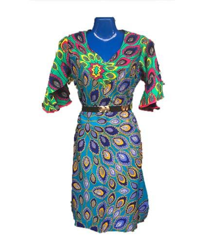 African Print Dress - Blue Design