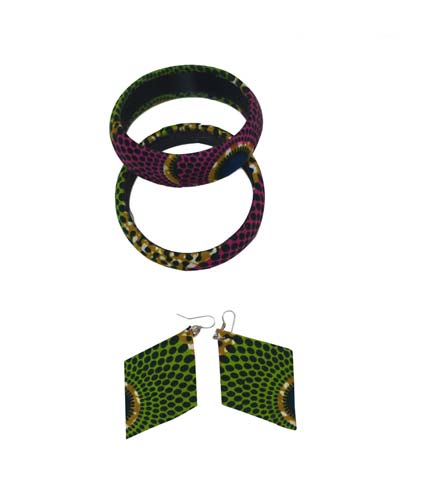 Green African Print Bangles & Earrings