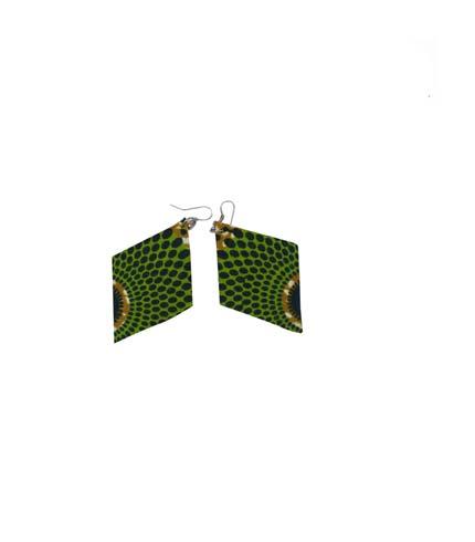 African Print Earrings - Green