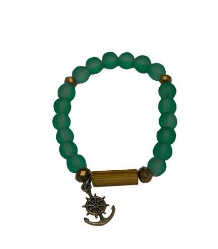 African Beaded Bracelet - Green