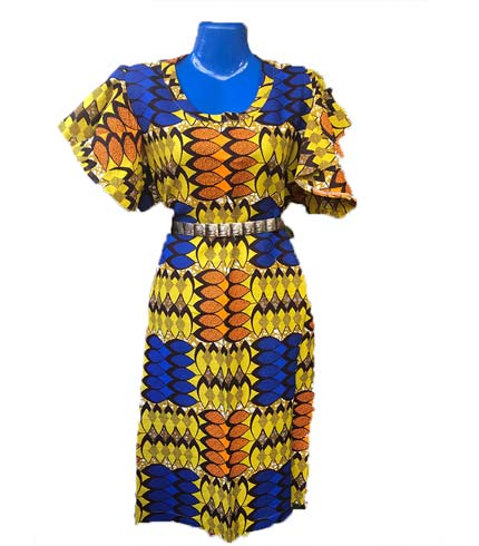 African Print Dress - Blue & Yellow