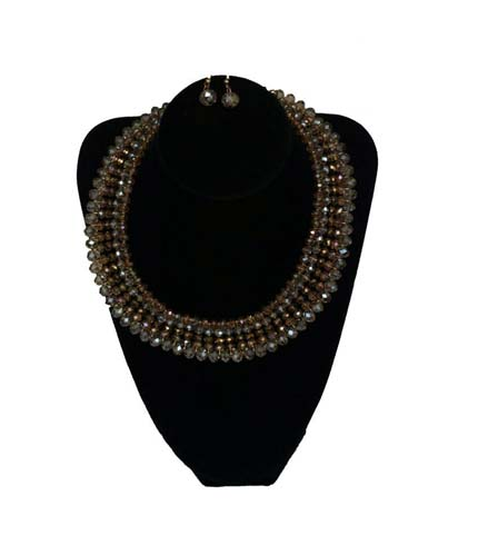 Silver Beaded Necklace with Earrings