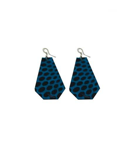 African Print Earrings - Blue