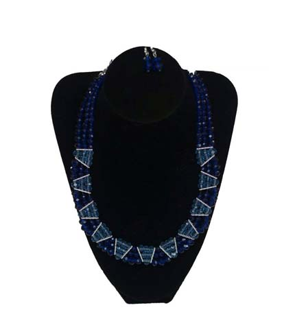 Blue Design Beaded Necklace with Earrings