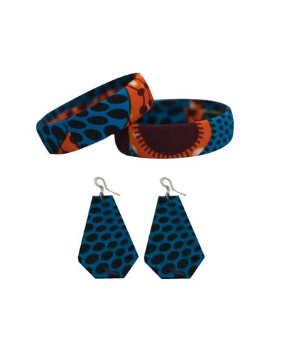 Blue African Print Bangles & Earrings