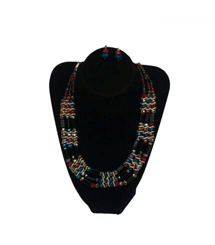 Multicoloured Design Beaded Necklace with Earrings