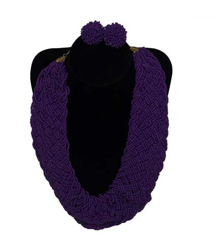 Violet Beaded Necklace with Earrings