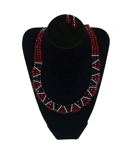 Red Design Beaded Necklace with Earrings
