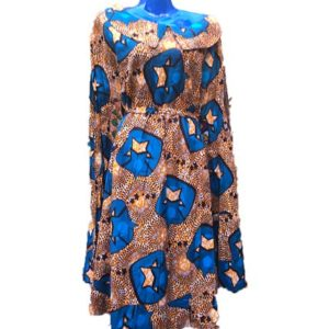 African Print Dress - Brown & Blue