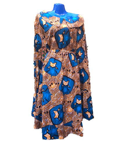African Print Dress - Brown & Blue
