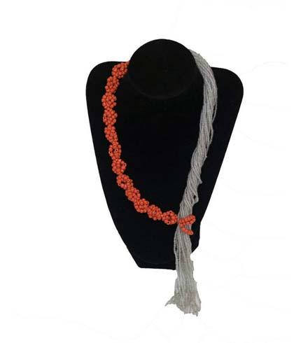 Orange & White Beaded Necklace