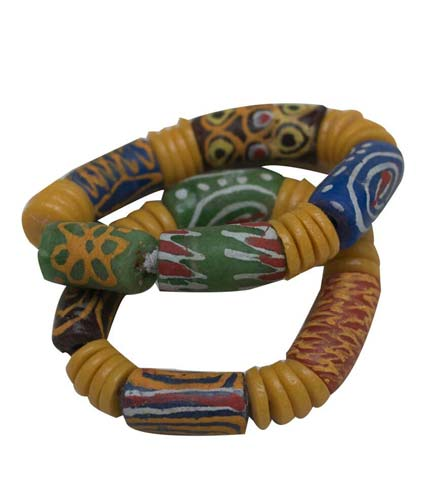 African Beaded Bracelet - Yellow