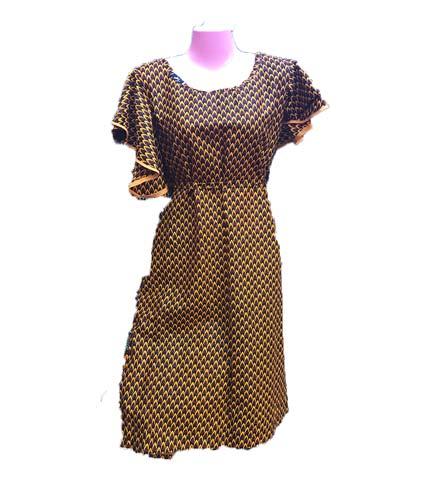 African Print Dress - Brown