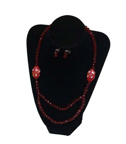 Red Beaded Necklace with Earrings