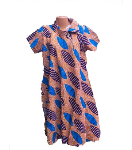 African Print Dress - Blue & Orange Design