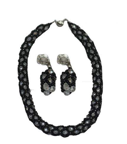 Silver & Black Beaded Necklace with Earrings