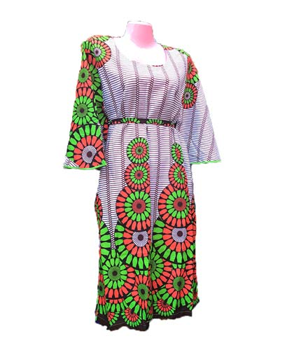 African Print Dress - Green & White