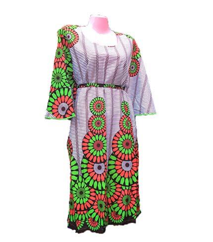 African Print Dress - Green & White