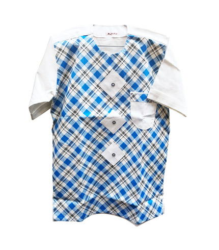 African Print Shirt - Sea Blue Design