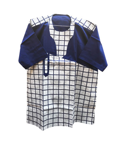 African Print Shirt - Blue Checkered Design