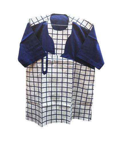 African Print Shirt - Blue Checkered Design