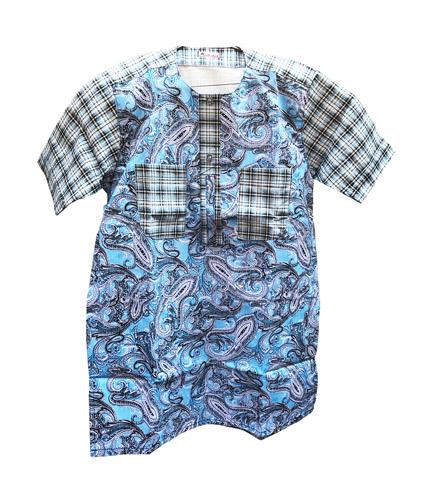 African Print Shirt - Sea Blue