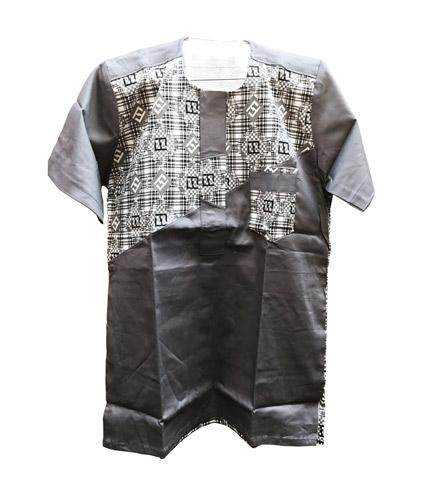 African Print Shirt - Grey Design