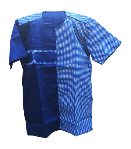African Print Shirt - Blue Double Shade
