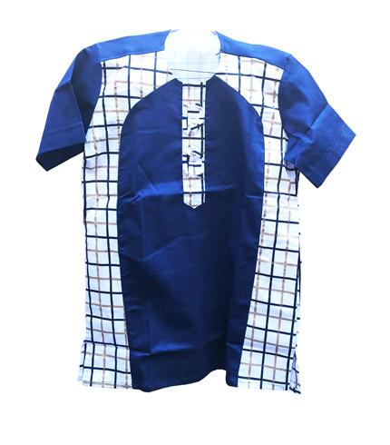 Blue Checkered African Print Shirt