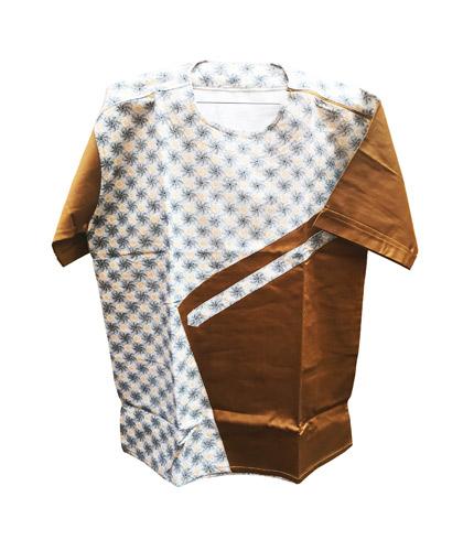 African Print Shirt - Gold Design