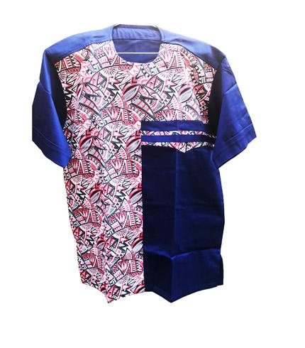 African Print Shirt - Blue & Pink Design