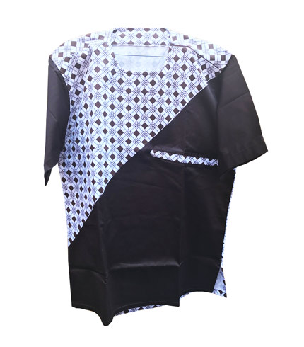 African Print Shirt - Black Dotted