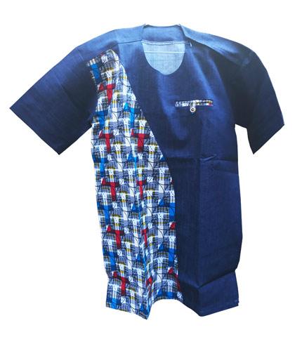 African Print Shirt - Blue Design