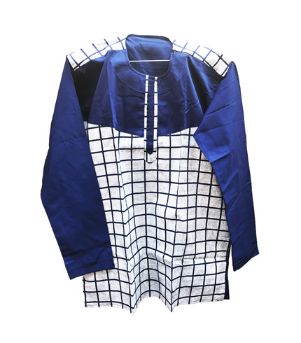 African Print Shirt - Blue Long Sleeves