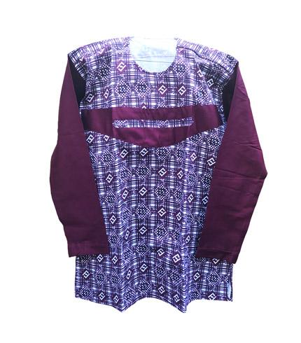 African Print Shirt - Wine Long Sleeves