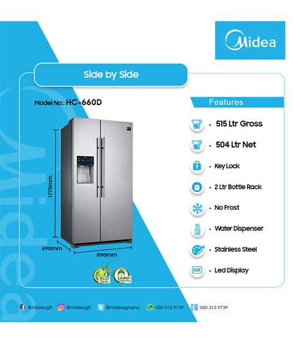 Midea 515Ltr Side By Side Refrigerator With Dispenser