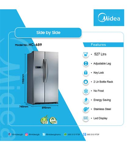 Midea 515Ltr Side By Side Refrigerator