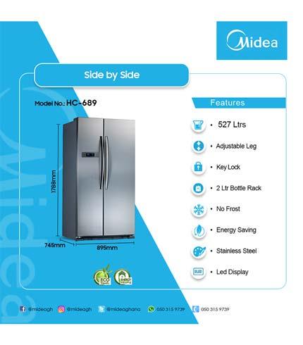 Midea 515Ltr Side By Side Refrigerator