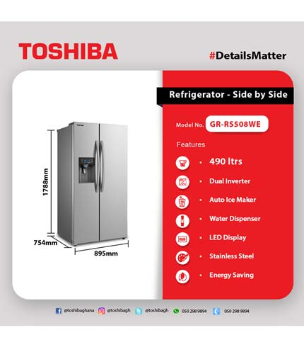 Toshiba 500 Ltrs Side By Side Refrigerator