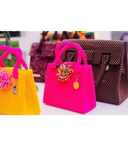 Pink Beaded Designer Ladies Bag