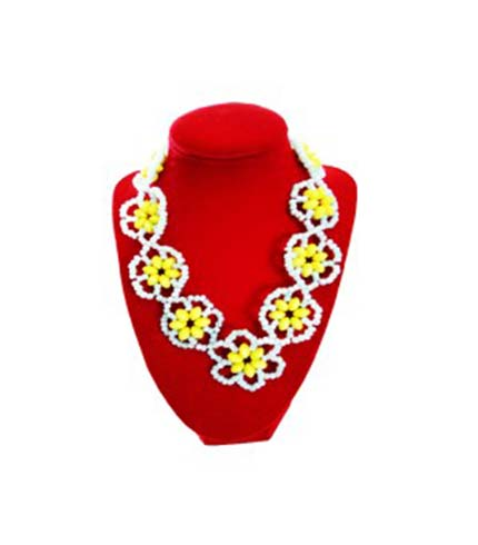 White & Yellow Beaded Necklace