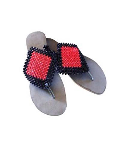 Red & Black Beaded Slippers