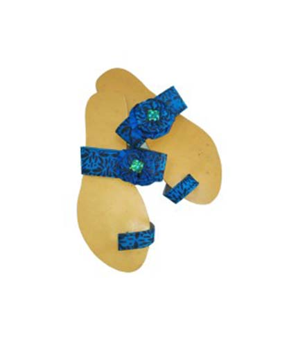 Blue African Print Slippers